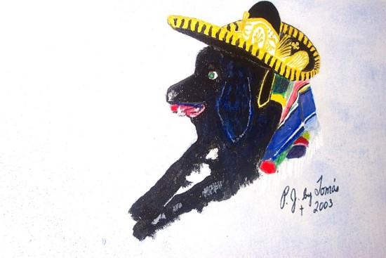 Original acrylic. 16x20 canvas. A portrait of P.J., our oldest son's dog