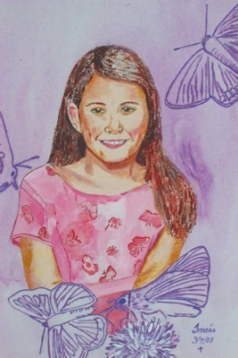 Original acrylic. 16x20 canvas. A portrait of Christiana, our granddaughter.
