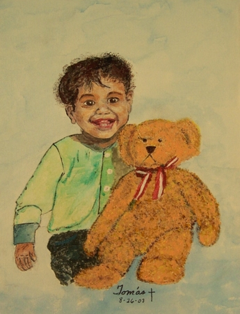 Original acrylic. A portrait of Michael, our grandson.