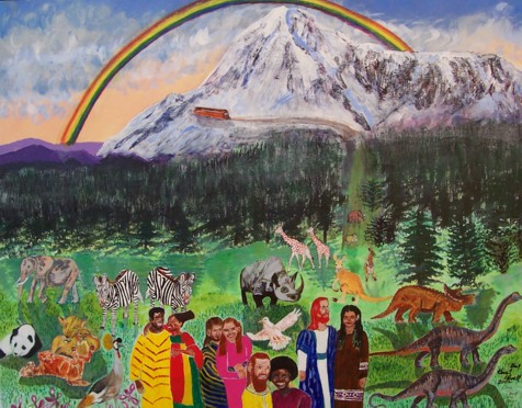 Original acrylic painting depicting the landing of Noah's Ark on Mount Ararat. Noah's Ark shows that dinosaurs went onto the ark along with the other animals. The animals were brought by God to the ark, and they also left as He sent them out. Genetically Noah and his wife had to be a mixture of physical traits. Their children would populate the world even as Genesis 10 and 11 says.