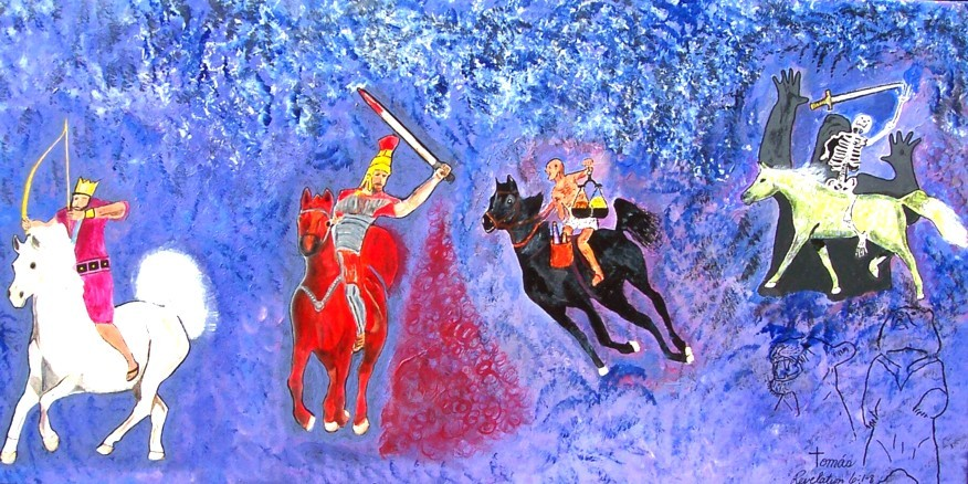 Original acrylic painting with some airbrushing depicting the Four Horses of the Apocalypes as described by John in the book of Revelation.