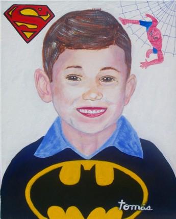 Original acrylic. 16x20 canvas. A portrait of Dallas, our grandson.
