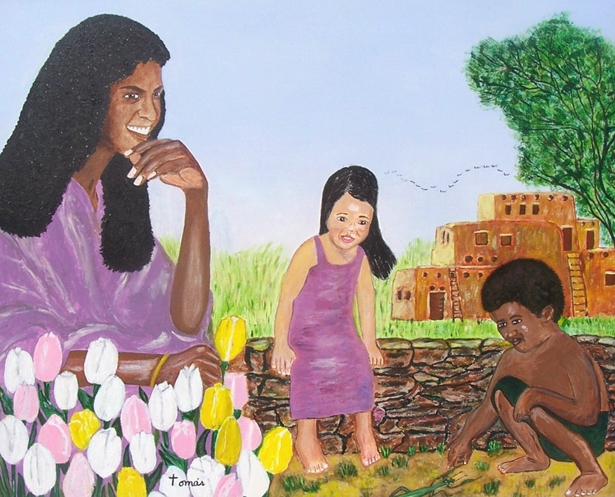 24x30 acrylic painting of Eve and two of her children. The sky is airbrushed. Adam and Eve had both sons and daughters (Gen. 5:4).