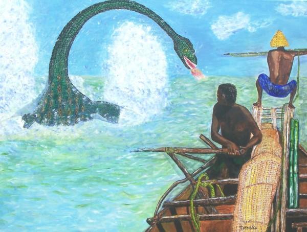 30 x 40 acrylic painting of Leviathan (Job 41).