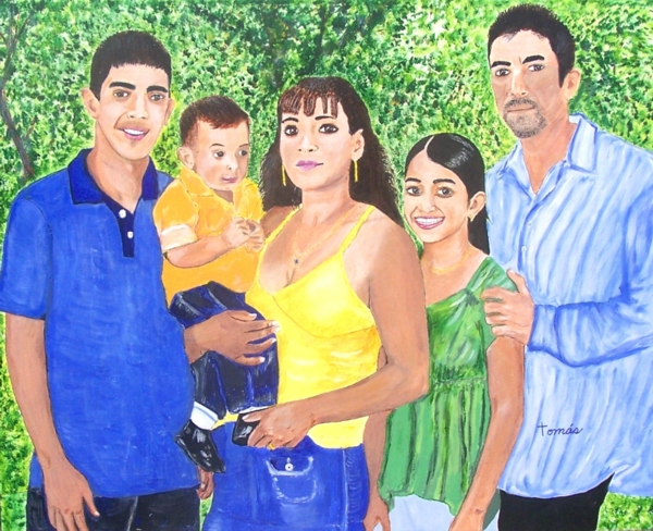 24 x 30 acrylic portrait of the Delgado Family.