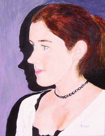 """Acrylic painting of our granddaughter, Julie. 12"""" x 16"""" painting"""