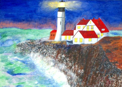 Original acrylic painting of a lighthouse in Portland, Maine. The light house represents Christ as the light of the world, John 1:9. Then too we are the lower lights in the houses Matthew 5:14-16. Sorry, this one is not for sale.