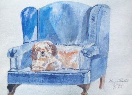 """Original acrylic painting of my daughter's dog """"Taffy"""". 9x12 canvas. Sorry, this painting is not for sale."""