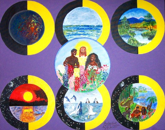 "Original acrylic painting. 30"" x 24"" canvas. Each of the circles represents a day and night of creation. On day 1 the earth was formless and void and then God created light. On day 2 God separated the water above from the water below. On day 3 God created dry land with vegetation. On day 4 God created the light bearers (sun, moon, and stars). On day 5 God created the sea creatures and fowl. On day 6 God created the animals, including the dinosaurs, and Adam and Eve. The circle in the middle is day 7 when God rested and fellowshipped with Adam and Eve. He did not create anything on the 7th day."
